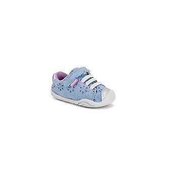 Pediped Jake Sky Girls Blue Canvas Shoes With Floral Pattern
