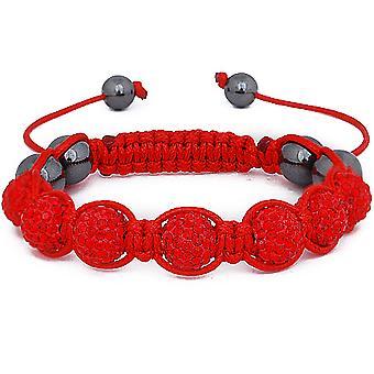 Iced out unisex armband - rood SHAMBALLA