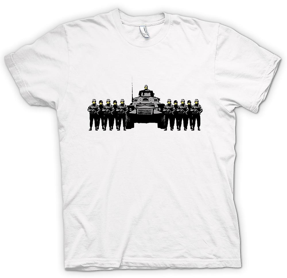 Mens T-shirt - Banksy Graffiti - politie staat