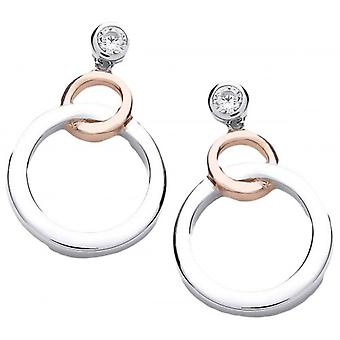 Cavendish French Linked Circle Earrings - Silver/Rose Gold