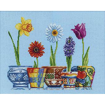 Flower Pots Counted Cross Stitch Kit-13.75