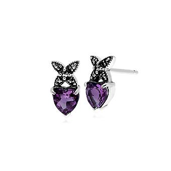Gemondo Sterling Silver Amethyst & Marcasite February Stud Earrings