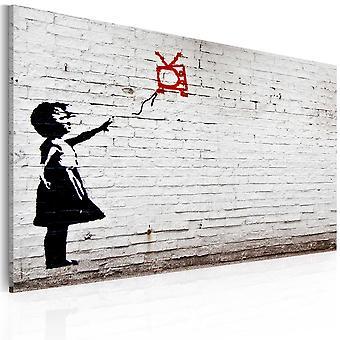Lærred Udskriv - pige med TV (Banksy)