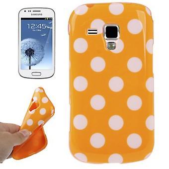 Schutzhülle TPU Punkte Case für Handy Samsung Galaxy S Duos S7562 orange