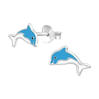 Dolphin - 925 Sterling Silver Colourful Ear Studs - W37076x