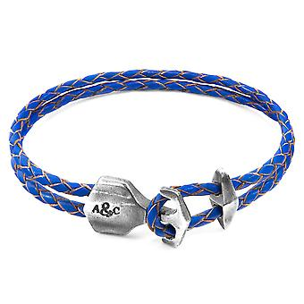 Anchor & Crew Royal Blue Delta Anchor Silver and Braided Leather Bracelet