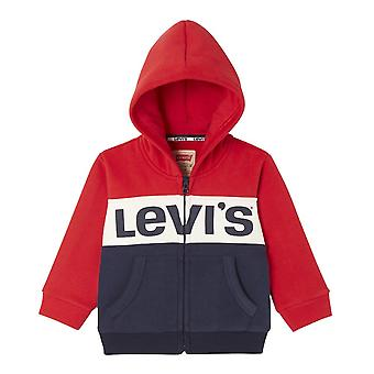 Levis Levi's Juniors Chest Print Stripe Hoodie (Red / White / Blue)