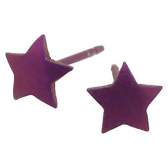 Ti2 Titanium Geometric Star Stud Earrings - Coffee Brown