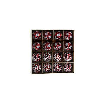 Festive Productions 16pc Red & White Diamond Finish 4cm Christmas Decoration Baubles