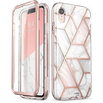 iPhone XR Case, [Built-in Screen Protector] [Cosmo] Full-Body Glitter Bumper Case for iPhone XR 2018 Release (Marble)