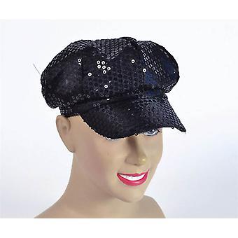Sequin Cap. 80's Style Black.