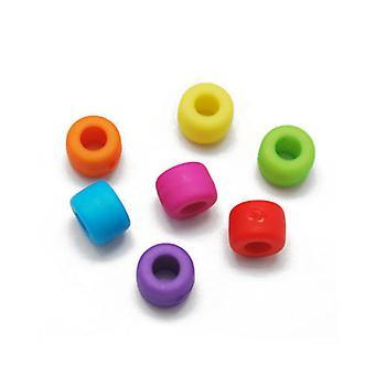 Packet 70+ Mixed Acrylic 6 x 8.5mm Plain Tube Beads HA25115