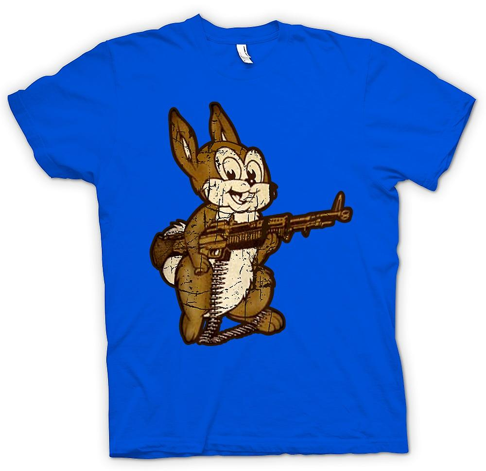 Mens T-shirt - Rabbit With M60 Machine Gun - Cool Design