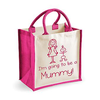 Medium Pink Jute Bag I'm Going To Be A Mummy