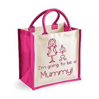 Bolsa de yute color rosa medio voy a ser una momia