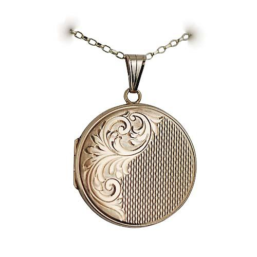 9ct Gold 29mm hand engraved and engine turned flat round Locket with a belcher Chain 16 inches Only Suitable for Children