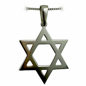 Silver 37x37mm plain Star of David Pendant with a curb Chain 18 inches