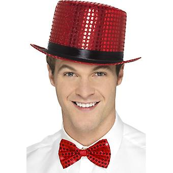 Sequin Top Hat, Red Fancy Dress Accessory