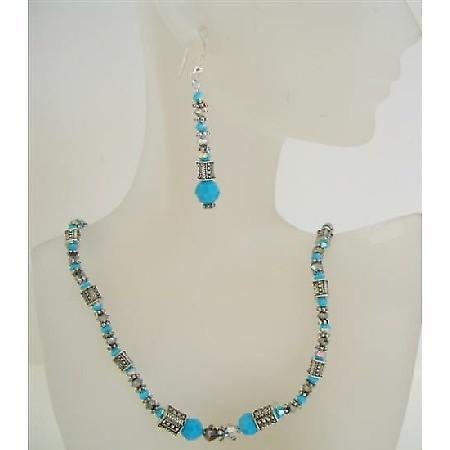 Turquoise Ethnic Jewelry Swarovski Volcano Turquoise Bead Necklace Set