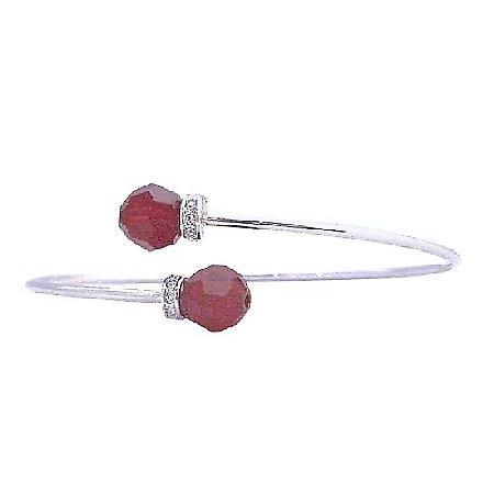 Siam Red Round Crystals Cuff Bracelet Swarovski Wedding Bracelet