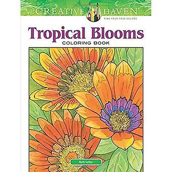 Kreativa oas tropiska blommar målarbok
