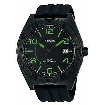 Pulsar Mens Black orologio da polso al quarzo analogico PS9317X1