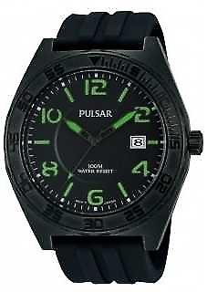 Pulsar Mens Black Rubber Quartz Analog PS9317X1 Watch
