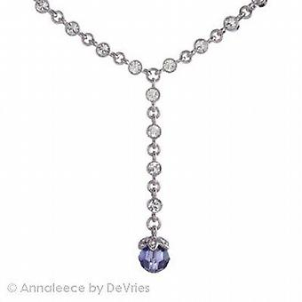 Annaleece Silvertone Necklace W/ Lilac & Clear Crystals