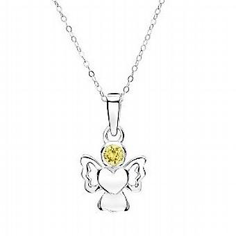 Jo For Girls Sterling Silver November Simulated Birthstone Angel Pendant 14
