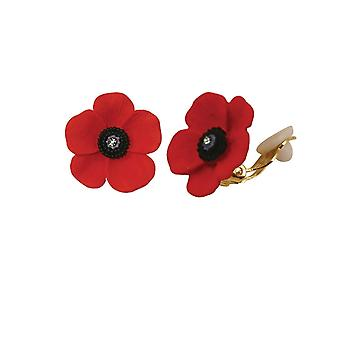Eternal Collection Poppy Red And Black Enamel Gold Tone Petite Stud Clip On Earrings