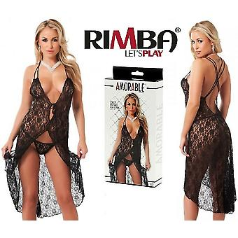 'Amorable' by Rimba Lingerie Black Floral Lace Nightdress with G-String (R100...