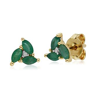 Gemondo 9ct Yellow Gold Emerald Marquise Cluster Stud Earrings