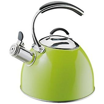 Cilio - Premium Stainless Steel Stove Top Whistling Kettle in Green - 2.5l