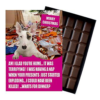 Bull Terrier Funny Christmas Gift For Dog Lover Boxed Chocolate Greeting Card Xmas Present