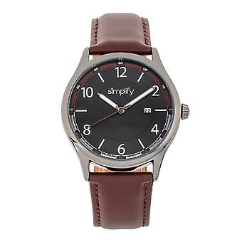 Simplify The 6900 Leather-Band Watch w/ Date - Brown