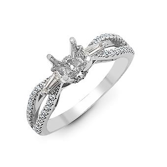 Jewelco London Solid 18ct White Gold Pave Set G SI1 0.42ct Diamond Semi Set Mount Engagement Ring 5.5mm