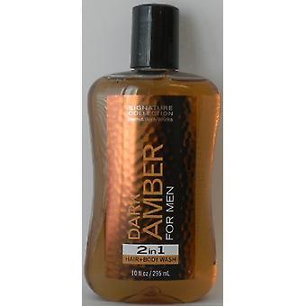 Bath & Body Works Dark Amber for Men 2 In 1 Hair and Body Wash 10 oz / 295 ml