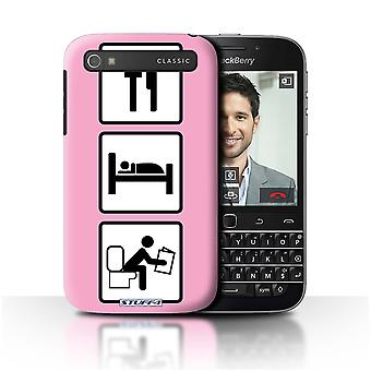 STUFF4 Case/Cover for Blackberry Classic/Q20/Poop/Pink/Eat/Sleep