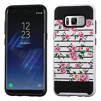 ASMYNA Pink Fresh Roses/Black Brushed Hybrid Case for Galaxy S8 Plus