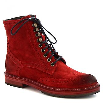 Leonardo Shoes Women's handmade brogues lace-ups boots in red suede leather