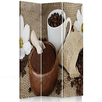 Room Divider, 3 Panels, Double-Sided, 360 ° Rotatable, Canvas, Coffee, Ground