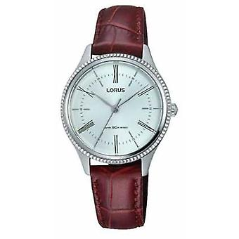 Lorus Mens Classic Brown Leather Strap White Dial RRS69VX9 Watch