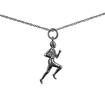 Silver 25x9mm Male Runner Pendant with a rolo Chain 14 inches Only Suitable for Children