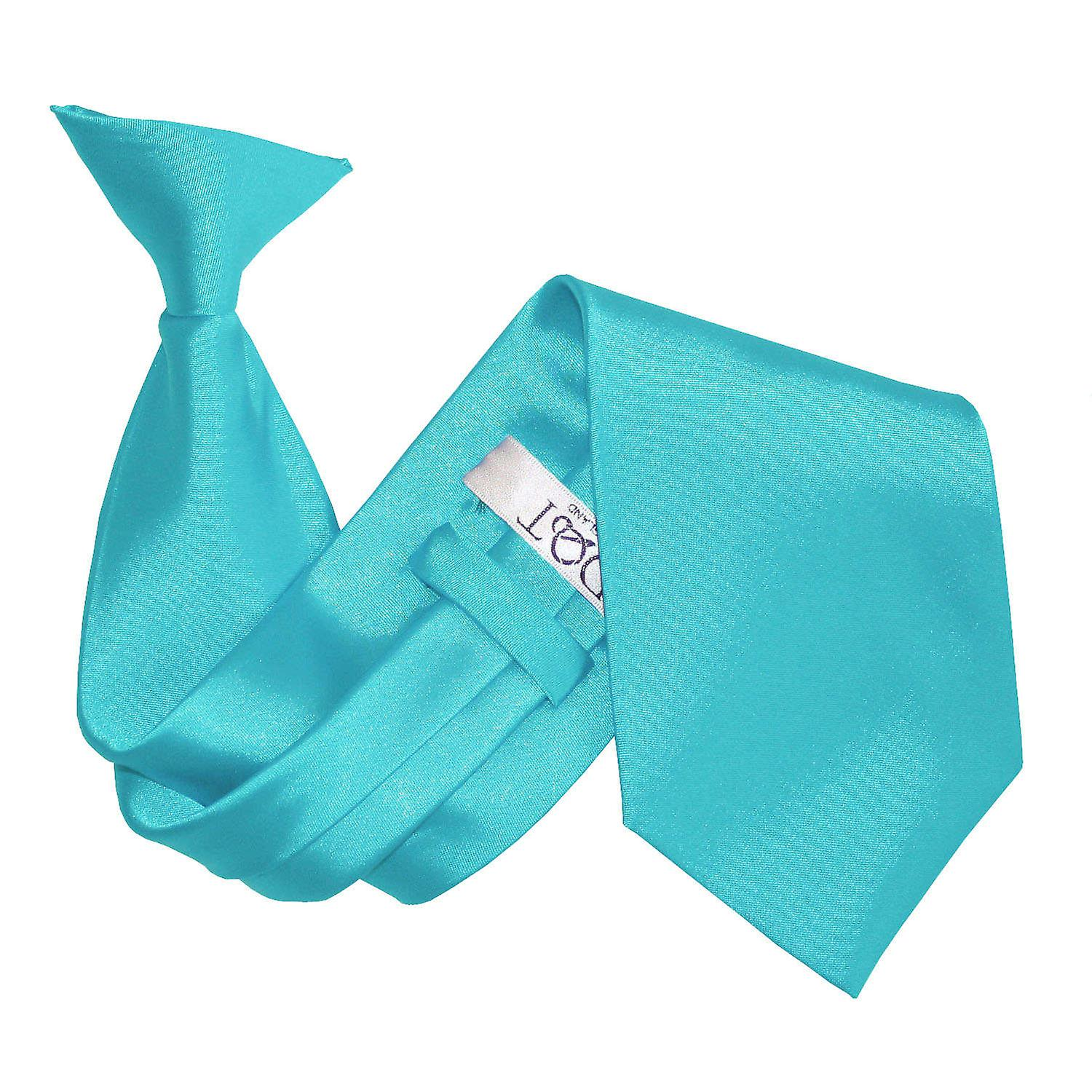 Plain Robin's Egg Blue Satin Clip On Tie