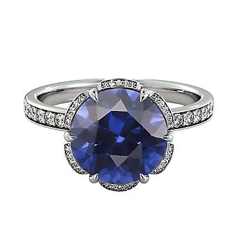 2.50 ctw Blue Sapphire Ring with Diamonds 14K White Gold Flower Vintage Halo
