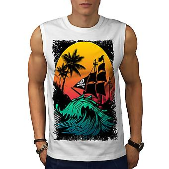 Pirate Ship Storm Sun Ocean Men White Sleeveless T-shirt | Wellcoda