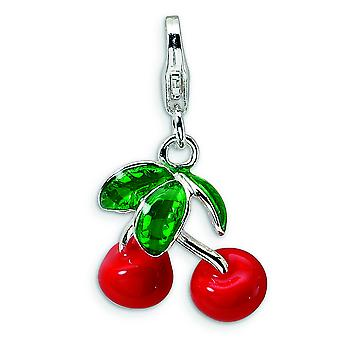 Sterling Silver 3-D Enameled Red Cherries With Lobster Clasp Charm - 3.2 Grams - Measures 25x14mm