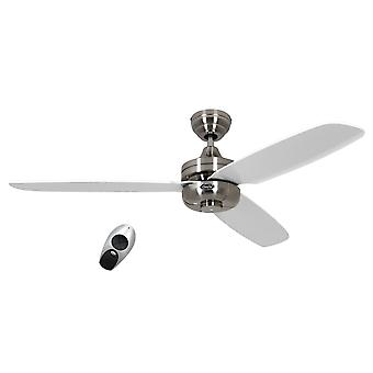 CasaFan ceiling fan Nightflight brushed chrome blades white with remote control