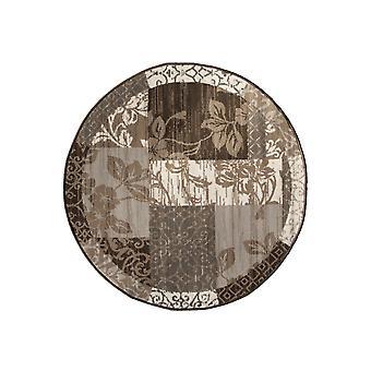 Kaffe grå lapptäcke cirkel matta Milano