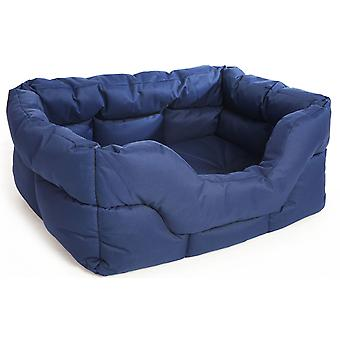 Country Dog Heavy Duty Waterproof Rectangle Drop Front Softee Bed Blue 57x47x24cm